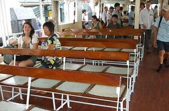 on board of one of the ferry boats
